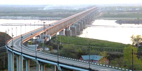 Webcam Khabarovsk - Bridge over the Amur river