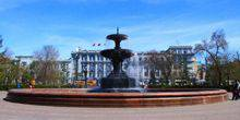 Webcam Omsk - The fountain in the square. Dzerzhinsky