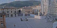 Webcam Norcia - Area with a monument to Saint Giuseppe Benedetto