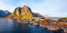 View of the mountain of Olstind. Lofoten Islands Reine