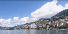 Panorama of the embankment of Lake Geneva Montreux