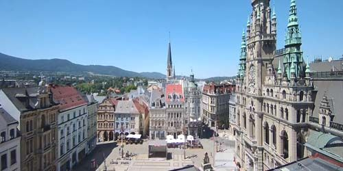Webcam Liberec - Liberec Town Hall, Neptune Fountain, Central Square